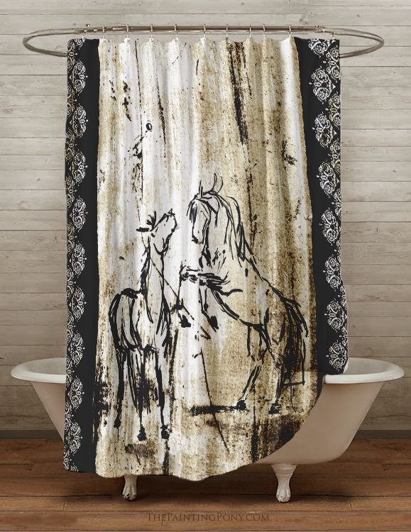 Rustic Rearing Horses Shower Curtain With Images Horse Shower Curtain Bathroom Themes
