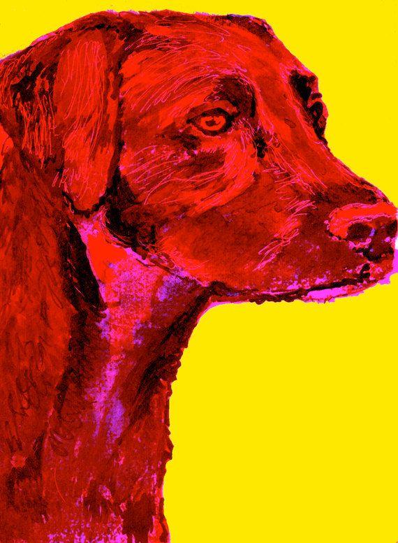 Labrador Dog Painting Art Print, Labrador owner gift idea, Red dog art, Lab dog painting, Labrador picture, portrait… #dogs #etsy #art