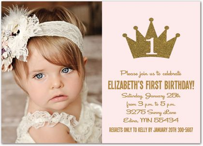 Gold Glitter Princess Crown Photo Birthday Invitations - Girl Royal First Birthday Invitations