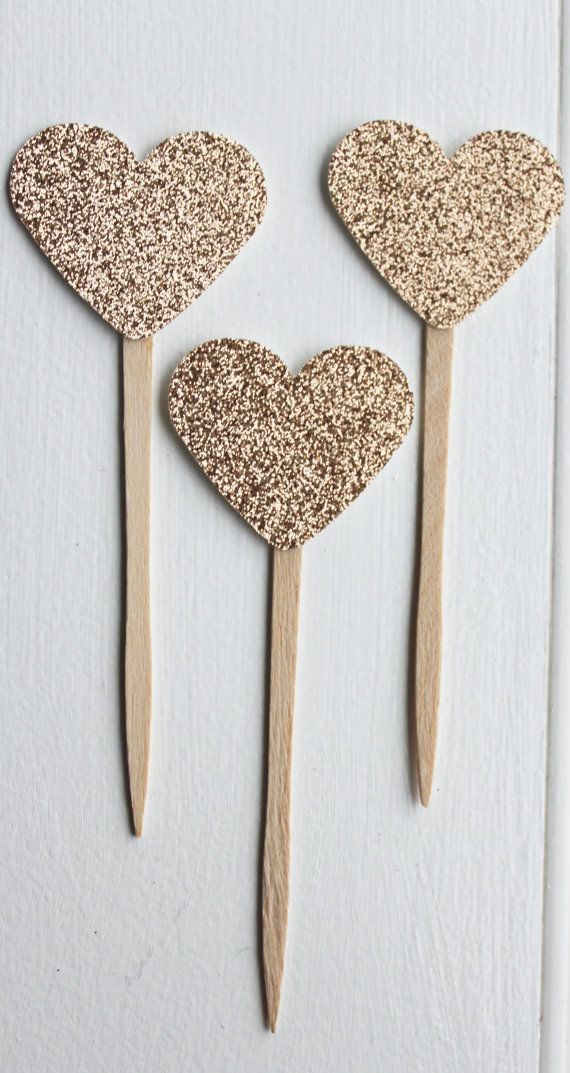 48 Gold Glitter Heart Cupcake Toppers For Wedding Bridal Or Baby Shower Birthday Party Topper