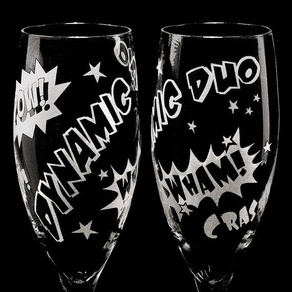 Hey, I found this really awesome Etsy listing at https://www.etsy.com/listing/170044301/2-comic-book-wedding-champagne-flutes