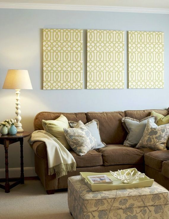Light blue walls light yellow accents and chocolate brown for Chocolate brown couch living room ideas