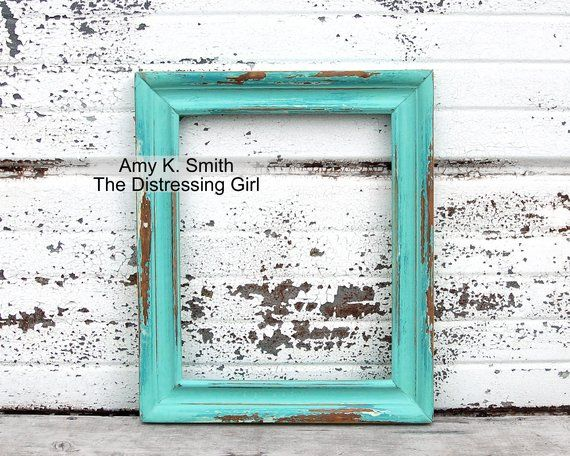 One 8x10 Rustic Frame Blue Green Solid Wood Painted Distressed Picture Frame 8 By 10 With Glass And Rustic Frames Distressed Picture Frames Frame