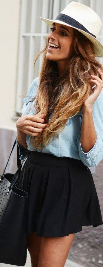 Looks com mini saia preta