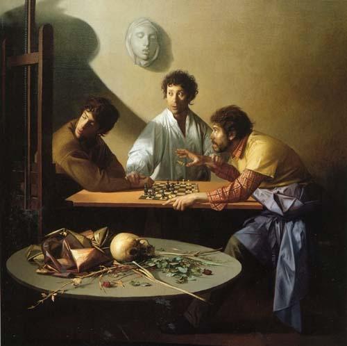Riccardo Tommasi Ferroni  Una partita a scacchi, 1986  olio su tela, cm. 200x200