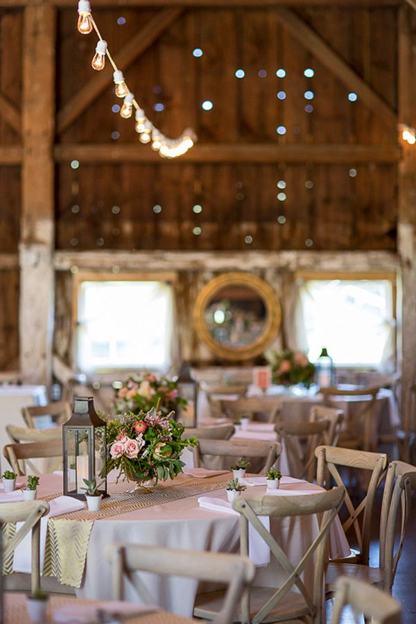 Elegant Barn Reception with French Country Details | J. Harper Photography | Elegant Farm Wedding in Pastels and Gold Glitter