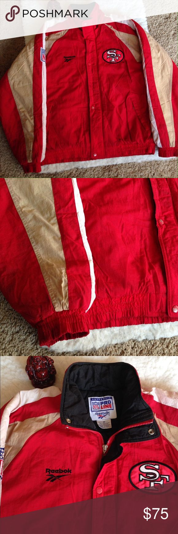 Vintage Pro line Reebok San Francisco 49ers Jacket Vintage Pro line Reebok San Francisco 49ers Jacket Size Medium in men Color: Red, Tan, white, and black. SF design on front and back. Hole on sleeve. Zipper and buttons. Red Stains on top. Reebok Jackets & Coats Puffers