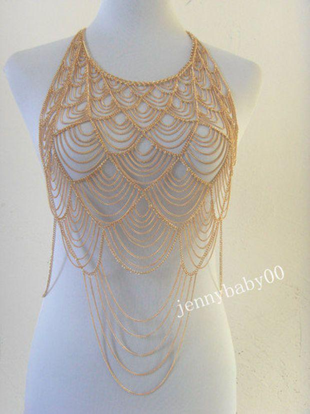 Europe Fashion Women Metal Gold Tassel  Body Chain Harness Necklace Jewelry