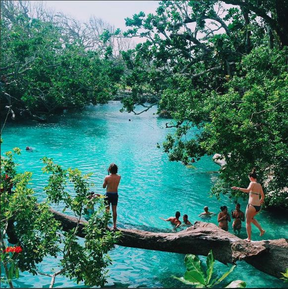 Blue Lagoon, Vanuatu. This was honestly so fun, you get to swing off these ropes into the water but the only thing was that if you stepped on the rocks little fish will come out and nibble on your feet which gave me a fright haha.