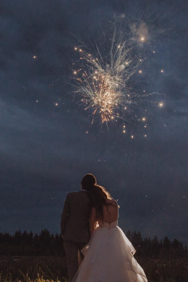 Fireworks were the perfect ending to this Canada Day, Fourth of July, long weekend wedding! Head to Kristin Zabos Photography for more. Outdoor tent wedding @SEREvents @delicabridal @corychristopher (Edmonton, Alberta)
