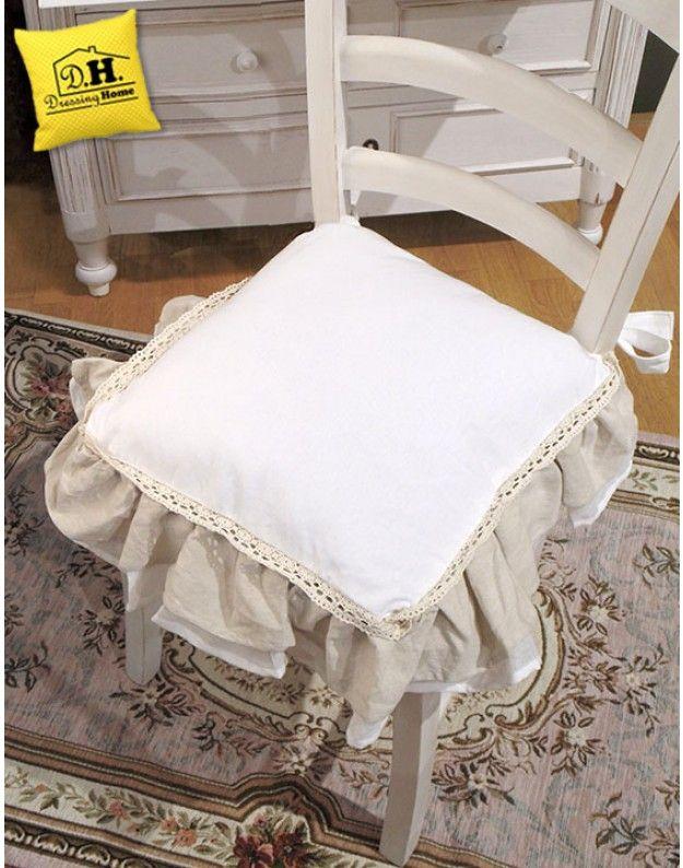 Cuscino per sedia shabby chic new fru fru collection blanc mariclo nak s cuscini per sedia for Cuscini per sedie cucina provenzali