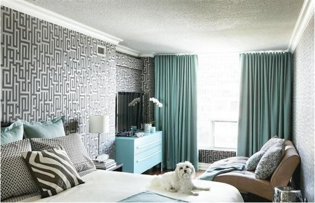 Geometric wallpaper, floor to ceiling curtains