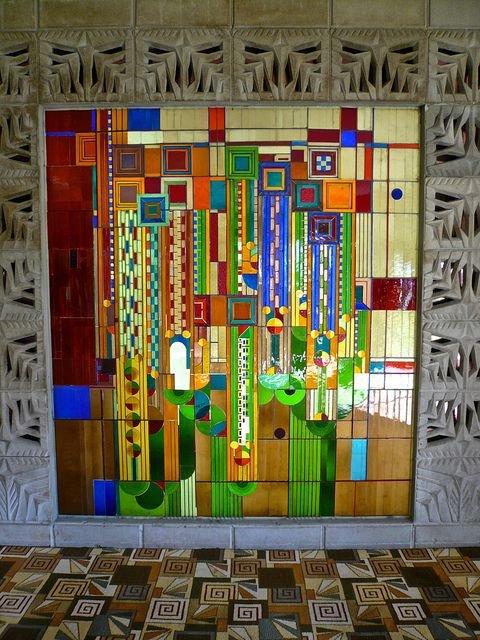 Frank Lloyd Wright Stained glass at the Biltmore Hotel