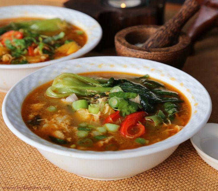 Thai-karrysuppe med Bok Choy og portobellosvampe