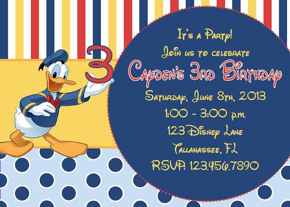 Donald Duck Inspired Printable Birthday by InviteMeToTheParty, $10.95