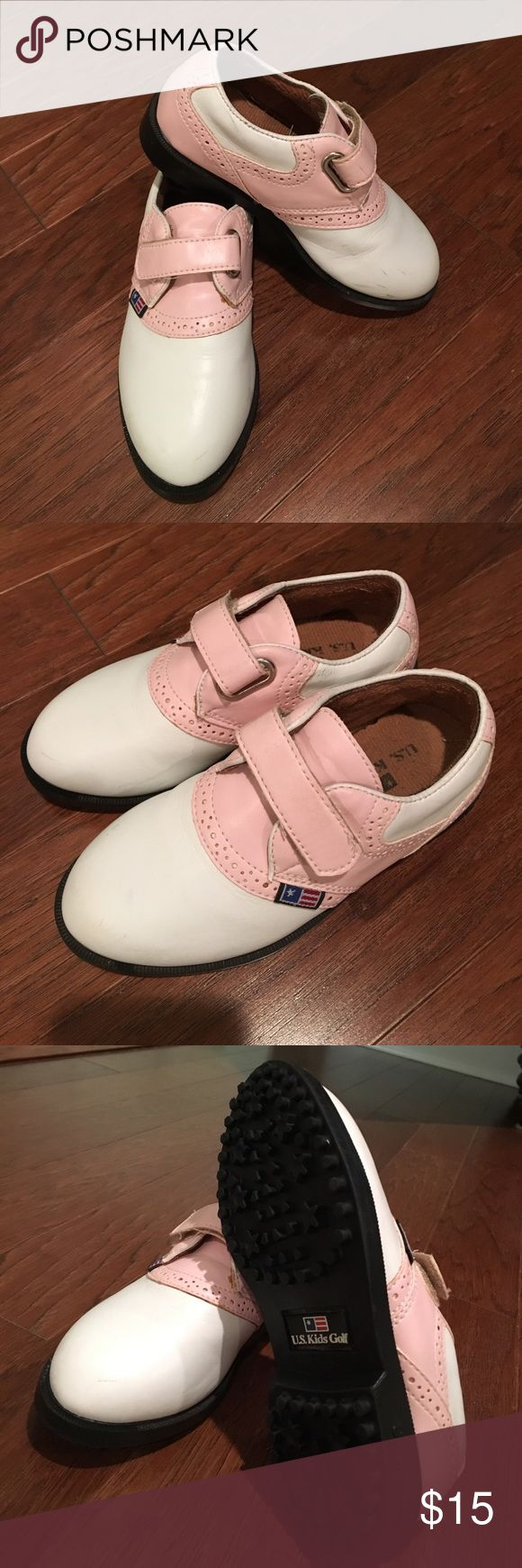 Girls pink and white golf shoes Great condition and so cute. US Kids Golf Shoes