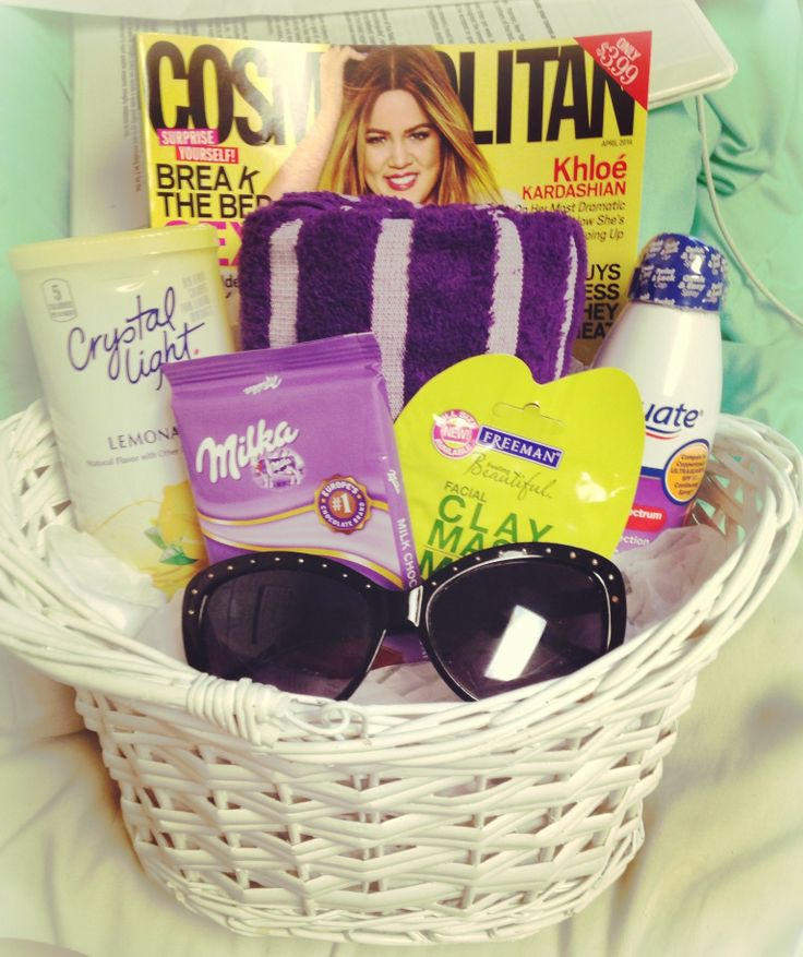 Beach/Summer Gift Basket under 25 dollars! Towel, magazine, sunscreen, crystal light packets, chocolate, face mask, and sunglasses! Best of all.. It's ECU colors!