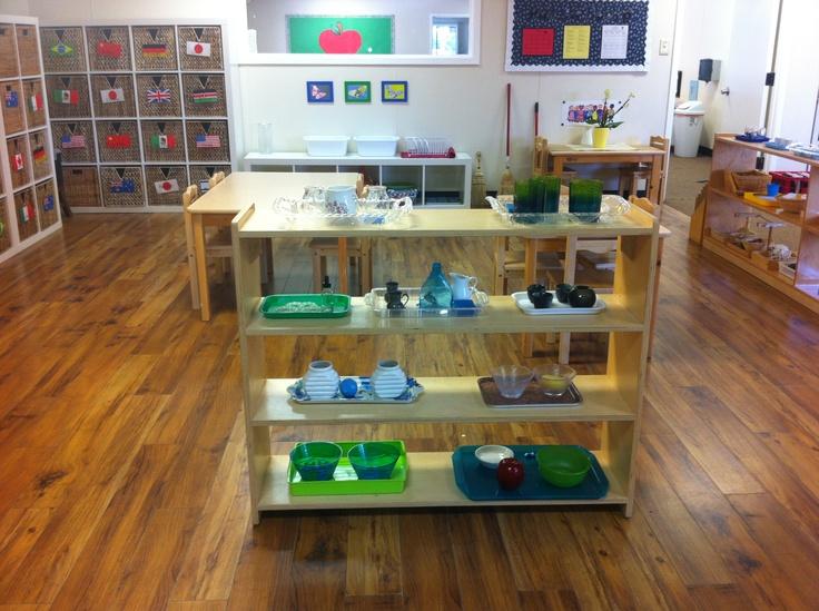 Beautiful Montessori practical life shelves, snack table ...