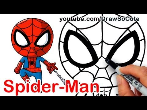 How to Draw SpiderMan Cute step by step - YouTube