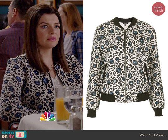 Annie's floral bomber jacket on Marry Me.  Outfit Details: http://wornontv.net/43772/ #MarryMe