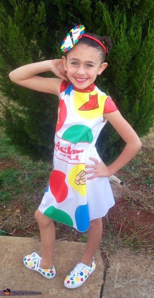 Jessica: This is my daughter Ella Hyde,7 years old, and she chose to be Twister girl this year. We bought just some white canvas shoes and painted all the dots on...