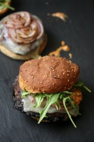 Grilled Portobello Mushroom Burger with Romesco, Manchego Cheese  Arugula