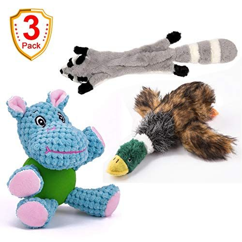 Eetoys 3 Pack Durable Plush Dog Toys With Chew Guard Rubber Ball
