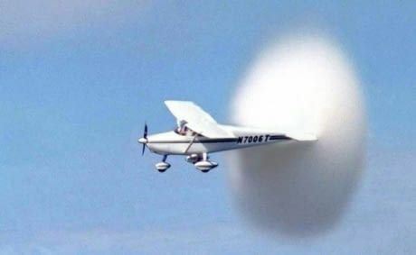 Rare picture of Cessna 172 flying at supersonic speed.