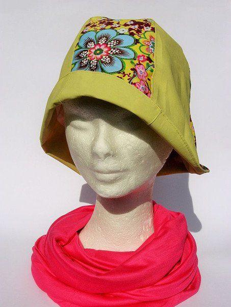 Hüte - Regenhut Cloche gelb geblümt - ein Designerstück von Janecolori bei…