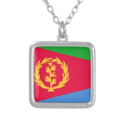 Eritrea Flag Silver Plated Necklace - jewelry jewellery unique special diy gift present