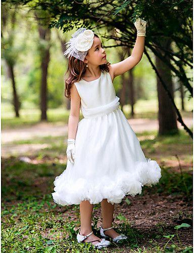 kurdeleler ve katlar ile prenses kare çay uzunlukta ipek çiçek kız elbisesi  $49.99