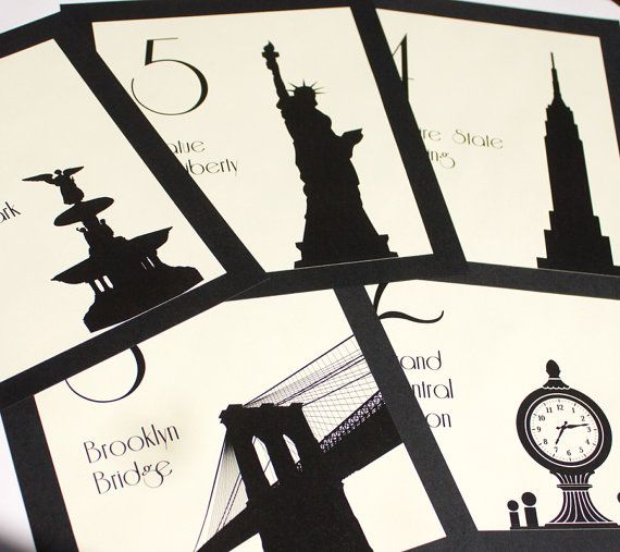 NYC Table Numbers Wedding Decor Sign New York Icons Landmarks Silhouette City Manhattan