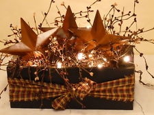 Barn Star Box, Berries, Lights, Country, Primitive Decor                                                                                                                                                                                 More