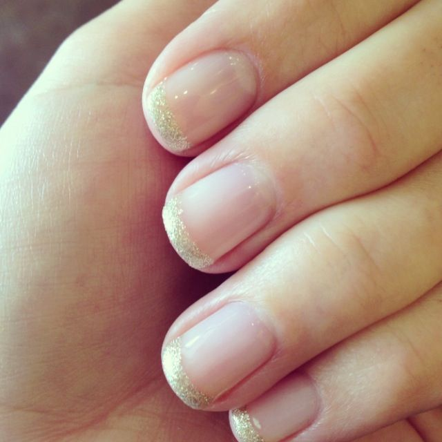 Gel, French, mani, manicure, glitter, gold, tips, girly, femme