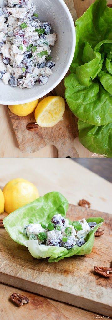 Light and Healthy Greek Yogurt Chicken Salad Lettuce Wrap from Ella Claire.