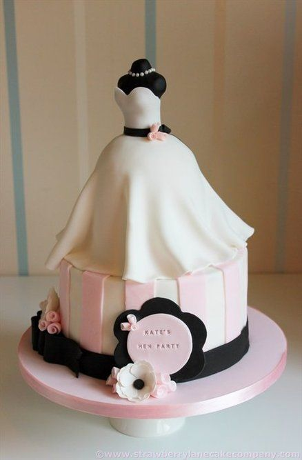 Bridal shower cake, with navy blue instead of black, and a lace dress. Iove it !