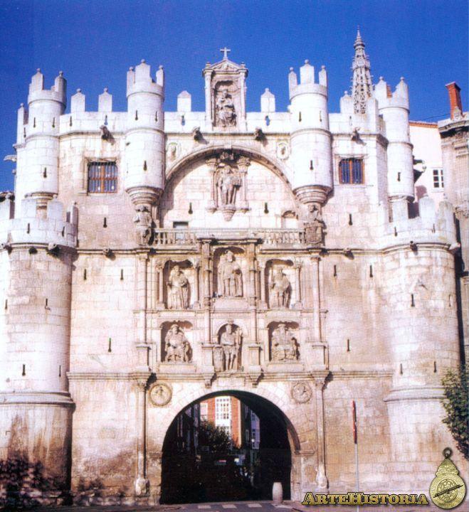 89. EL ARCO DE STA. MARÍA DE BURGOS muestra una clara convivencia de elementos arquitectónicos góticos y citas ya renacentistas. Objeto de un proceso de remodelación entre 1535 y 1553 a partir de un nucleó primitivo del siglo XIV.  De torre militar pasó  a ser arco triunfal en honor de Carlos V, obra de arquitectos importantes para la ciudad: FRANCISCO DE COLONIA Y JUAN DE VALLEJO y la posible participación del ESCULTOR FELIPE BIGARNY o DE BORGOÑA