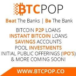 BTCPop P2P Bitcoin Banking Loans Savings Accounts IPO Shares Trading Coin Exchange BTCPop is a peer-to-peer Bitcoin lending program. BTCPop is the only Bitcoin lending platform that offers users th…