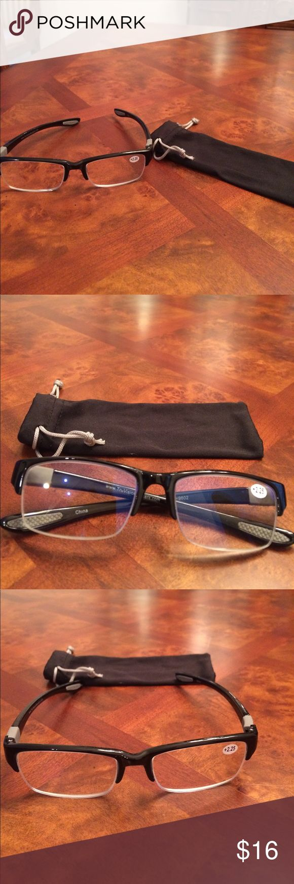 NWT Unisex True Vision Reading Glasses 👓 +2.25 Incredible quality. Black half frame. Spring hinges, Dura Tight screws, rubber inside ear pads, lightweight, microfiber cleaning bag. True Vision Accessories Glasses