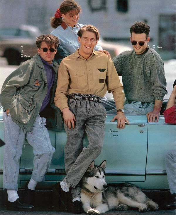 This is typical dress for young men in the 90's with the baggie clothes and the…