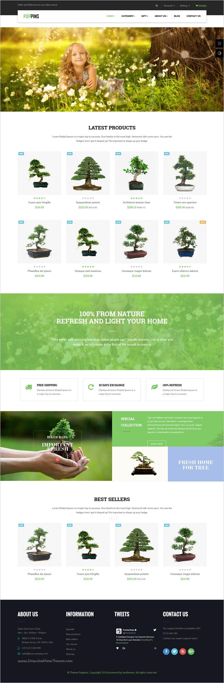 Leo poppins is a modern and elegant design #Prestashop theme for #bonsai #shop eCommerce website with 3 multipurpose unique homepage layouts download now➯ https://themeforest.net/item/leo-poppins-ressponsive-prestashop-theme/17116358?ref=Datasata