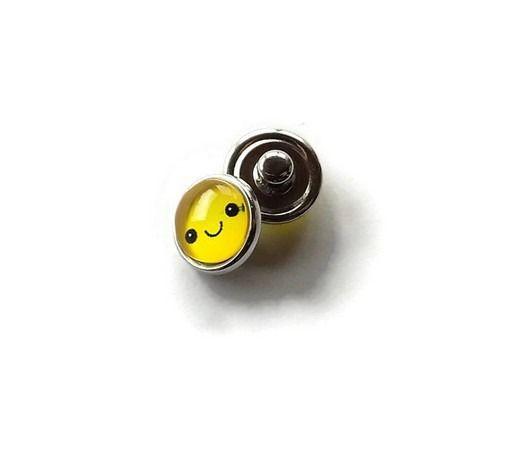bouton snap chunk visage souriant jaune 12 mm cabochon pour bijoux personnalisables B070 : Autres accessoires bijoux par mamiechantal-screations
