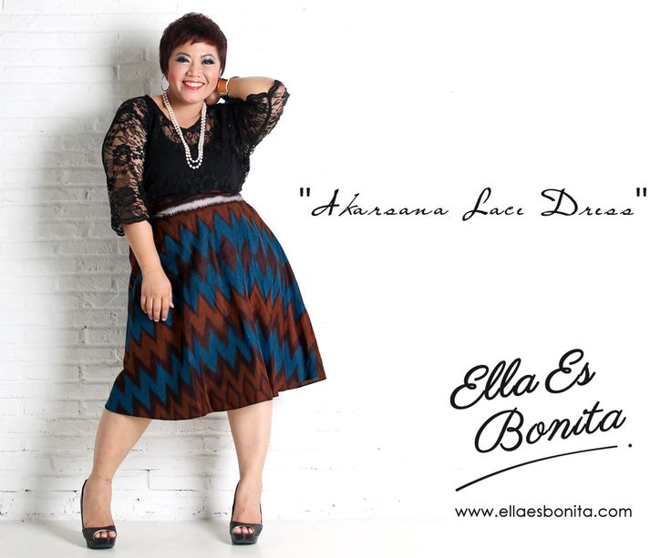 Akarsana Lace Dress - This vintage batik lace dress features high quality brocade lace for the tops and batik cotton for the skirt which specially designed for sophisticated curvy women originally made by Indonesian Designer & Local Brand: Ella Es Bonita. Available at www.ellaesbonita.com