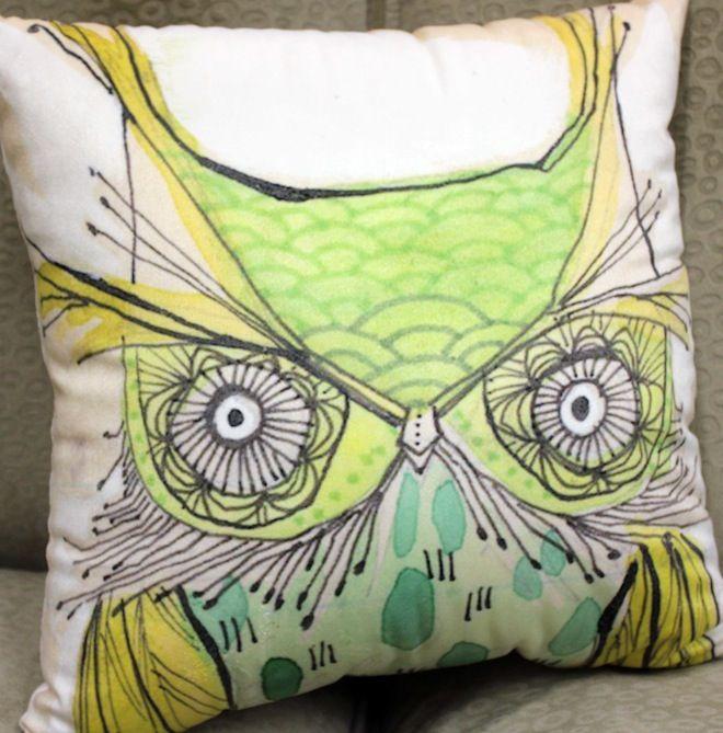 Green hipster owl cushion  #Cushion | #Owl | #Sale | #PhilBee | #Decor | #Melbourne | #Interiors | #InteriorDecorator | #Cushions | #OwlCushion