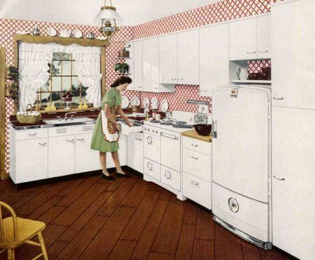 1940s decorating style --- Retro Renovation -- a simple and pretty white kitchen from the early postwar years, with old-fashioned touches like the lace curtains.