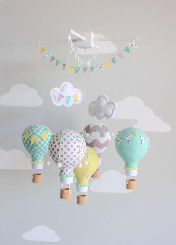 Gender neutral baby mobile, hot air balloon, travel theme nursery décor. Aqua, Yellow, Grey hot air balloons for a gender neutral nursery. Each