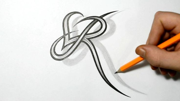 Letter R and Heart Combined - Tattoo Design Ideas for Initials