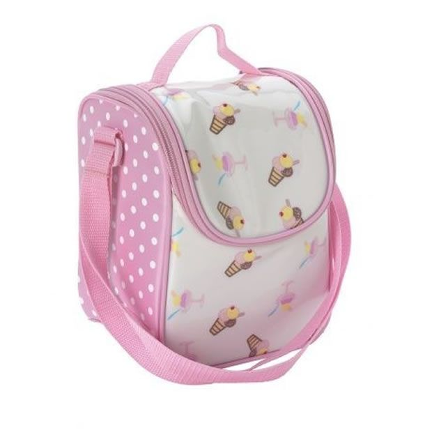 Pink Spotted Impertex Fabric Girl Lunch Kit with Printing