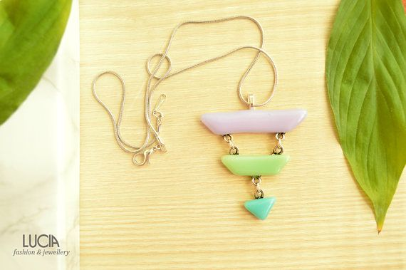 Purple green and turquoise glass necklace for woman Triangle
