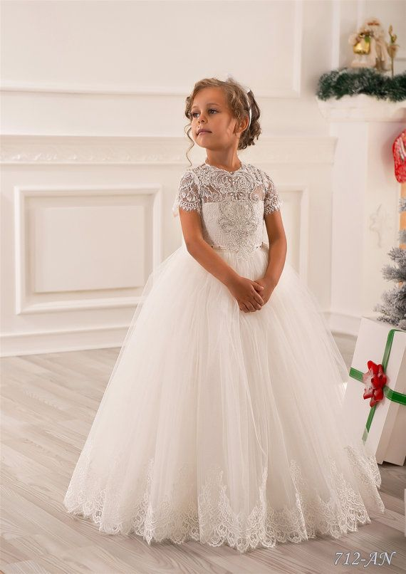 324f9294513d Ivory Lace Flower Girl Dress - Wedding Party Holiday Bridesmaid Birthday  Tulle Lace Ivory Flower Girl Dress 14-712 in 2019 | Mikela's Communion |  Little ...